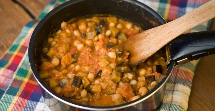 cieciorka,bakłażan,fasola,pomidory,obiad,