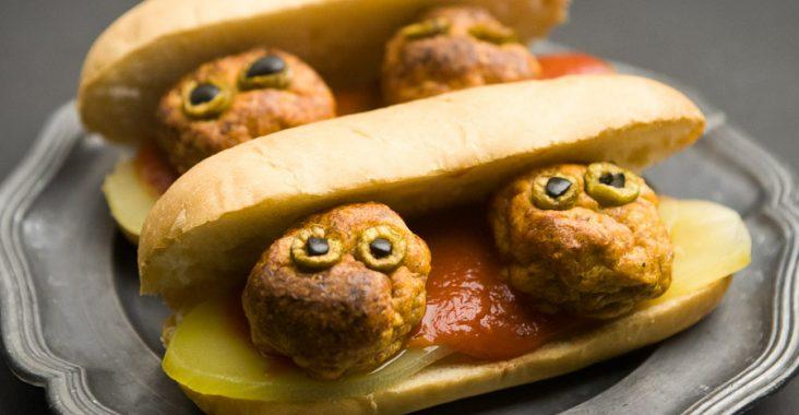 halloween, śmieszne jedzenie, klopsiki, hotdogi,