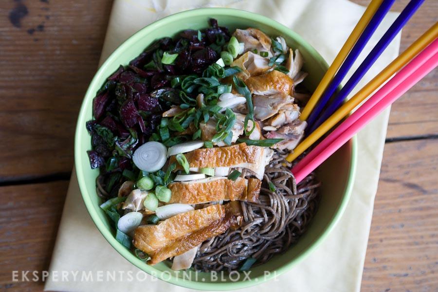 kuchnia orientalna, kurczak, botwina, zielona cebulka, gryczany,