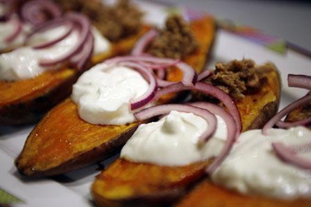 pataty z tuńczykiem, bataty, słodkie ziemniaki