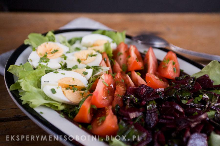 sałatka, botwin,a jajka, pomidory, wiosna,