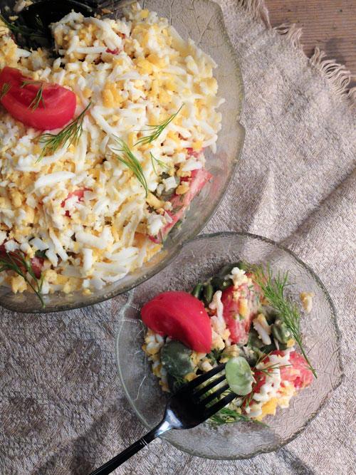 bób,pomidory,jajka, kolacja,