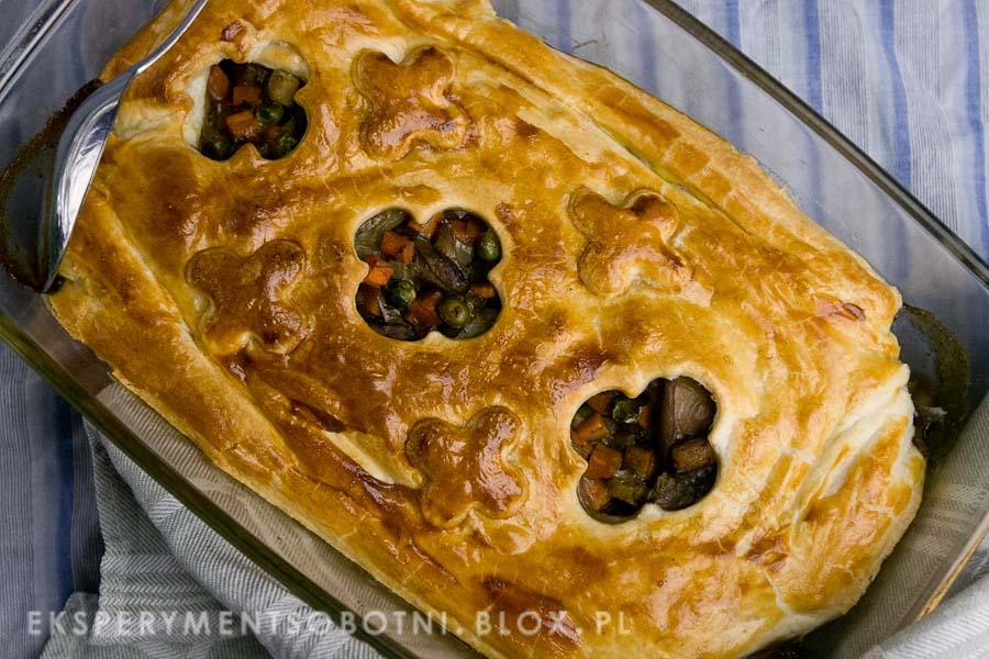 ciasto francuskie, warzywa, maślaki, kolacja,
